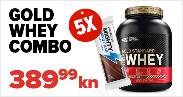 100% Whey Gold Standard, 2270 g + 5x Mighty Energy Bar, 35 g GRATIS